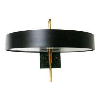 Italian Wall Lamp Black New Production in Style Mid-Century Green Marble, 2018 For Sale