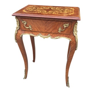 Louis XV Style Side Table With Marquetry Top
