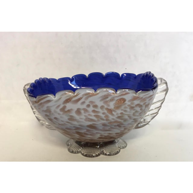Blue & Gold Blown Glass Bowl - Image 3 of 8