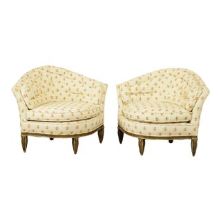 Hollywood Regency Vintage Curved Back Bergeres Club Chairs - a Pair For Sale