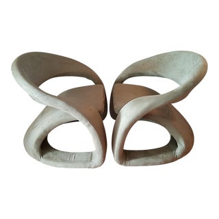 Sculptural Cantilevered Ribbon Lounge Chairs - A Pair For Sale