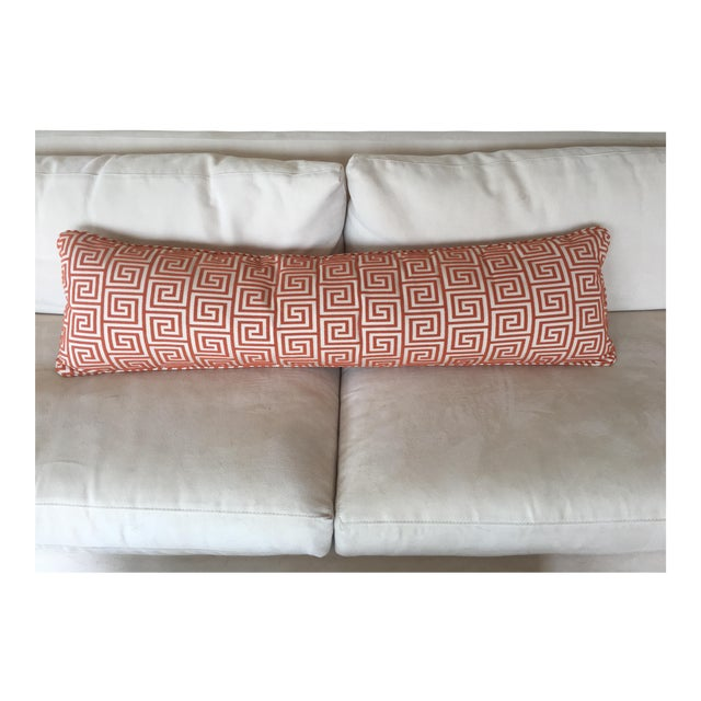 Custom Orange/Natural Fabric Extra Large Kidney Pillow - Image 8 of 8