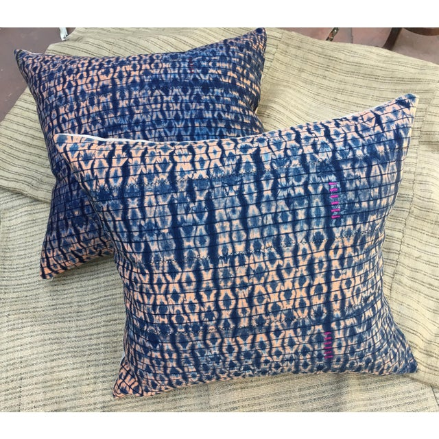 Vintage African Indigo Textile Pillows, S/2 - Image 2 of 6