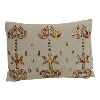Vintage Turkish Embroidered Lumbar Decorative Pillow For Sale