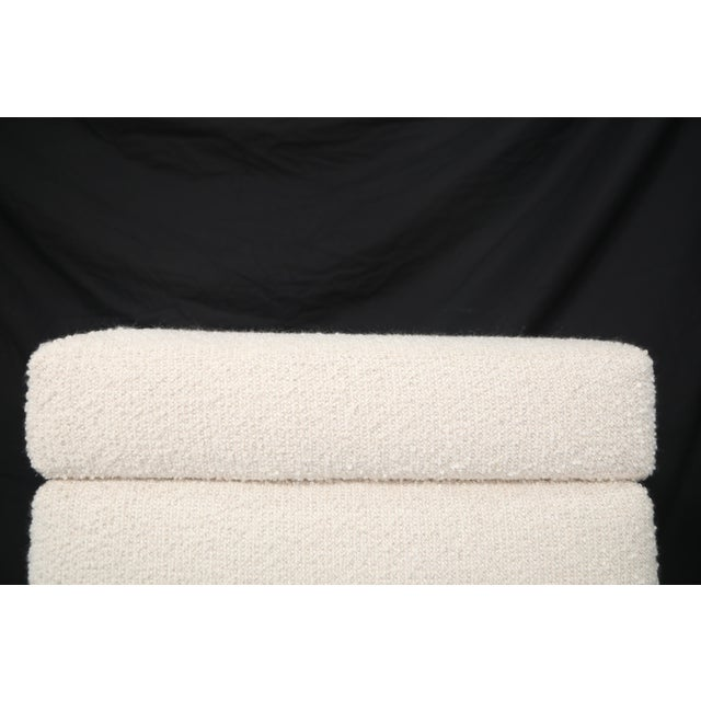 Pair of Italian Mid-Century Modern White Boucle Ottomans on Brass Legs For Sale - Image 9 of 12