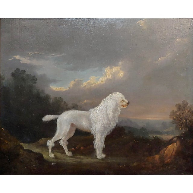 18th Century Portrait of White Poodle in a Landscape Oil Painting For Sale - Image 4 of 10