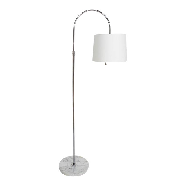Restored Mid Century Italian Chrome Arc Floor Lamp With Marble Base For Sale