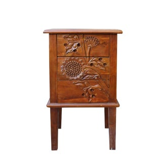 Chinese Brown Dimensional Flower Motif Carved End Table Nightstand For Sale