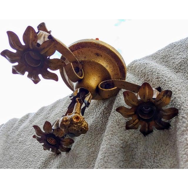 Hollywood Regency Vintage Bronze Flower Ceiling Light Fixture For Sale - Image 3 of 12