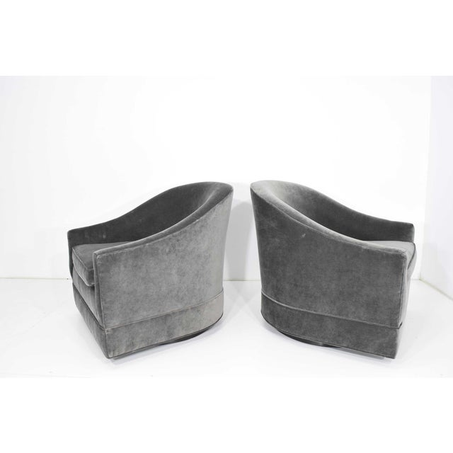 Textile Pair of Harvey Probber Swivel Lounge Chairs For Sale - Image 7 of 8