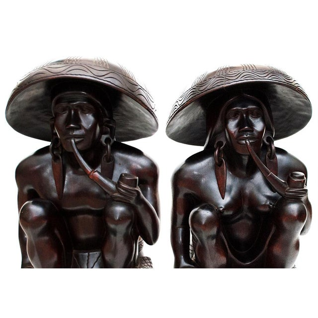 Large Early 20th C. African Narra Wood Sculptures - a Pair For Sale - Image 9 of 13