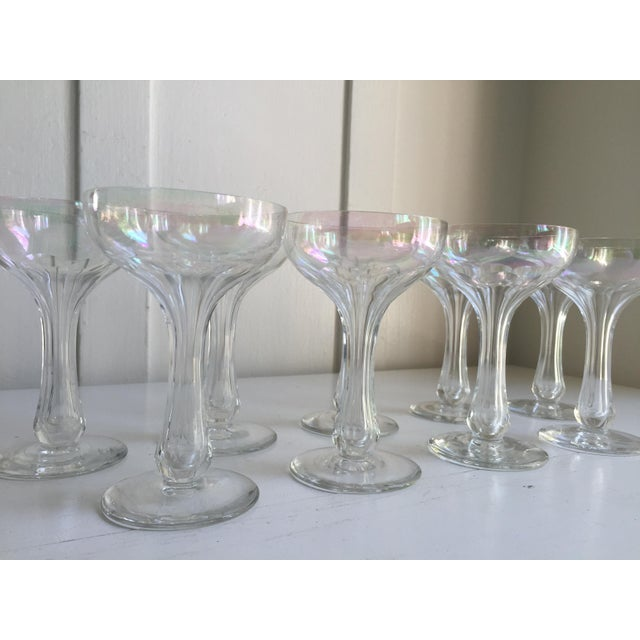 Vintage Iridescent Hollow Champagne Coupe Glasses - Set of 9 - Image 4 of 7