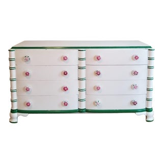 1940s Cottage Dorothy Draper for the Greenbrier White Lacquer Dresser For Sale