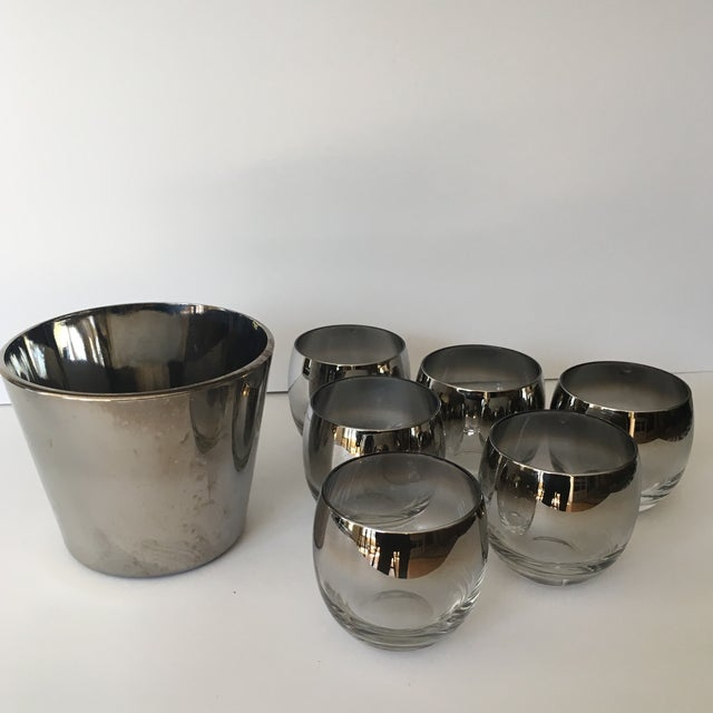 Mid Century Vitreon Queens Lusterware silver fade/ombré cocktail set. The set includes six roly poly glasses and ice...
