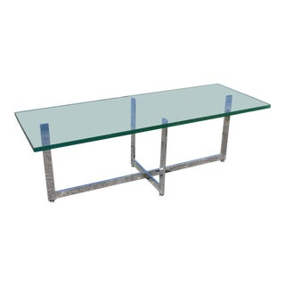 Mid-Century Mies Van Der Rohe Bareclona Style Steel and Glass Coffee Table For Sale