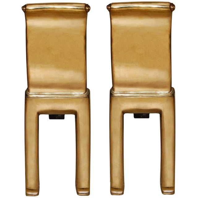 Pair of Scroll Cast Bronze Andirons by Nancy Ruben for Craig Van Den Brulle For Sale