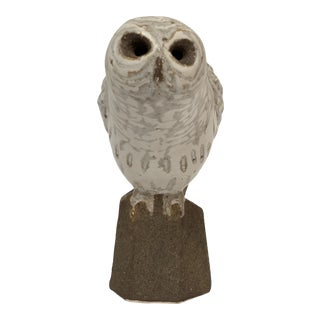 Stoneware Owl Studio Pottery Sculpture by Andersen Design For Sale