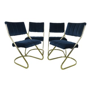 1970s Douglas Furniture Brass Cantilever Dining Side Chairs - Set of 4 For Sale