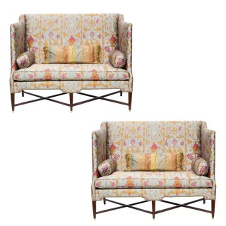 Modern Wingback Sofas- a Pair For Sale