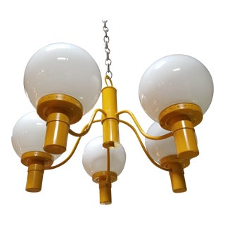Lightolier Yellow Chandelier Mid-Century Modern For Sale