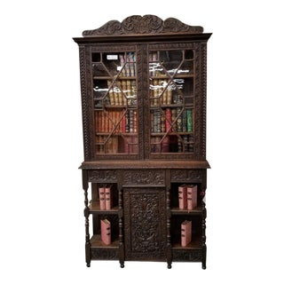 Antique Oak Library Bookcase For Sale