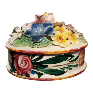 Mid 20th Century Italian Ceramic Trinket Box For Sale