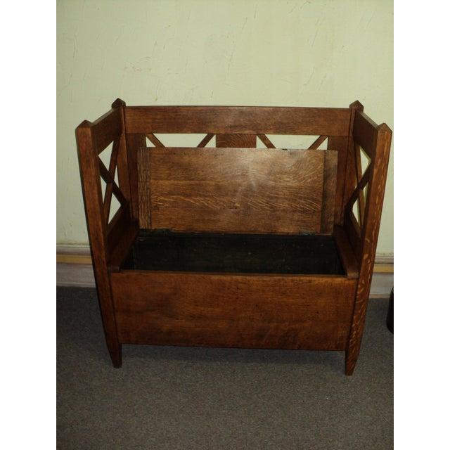 Arts & Crafts Antique Arts & Crafts Mission Oak Hall Storage Bench For Sale - Image 3 of 9