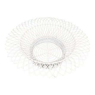 Vintage Circular White Wireware Cachepot For Sale