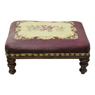 Victorian Empire Mahogany Needlepoint Footstool Ottoman For Sale