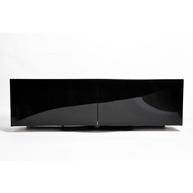 1980s Black Lacquer Console With Sliding Doors For Sale - Image 13 of 13