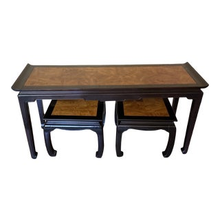 1990s Ethan Allen Dynasty Ming Console Table With Low Stools - 3 Pieces For Sale
