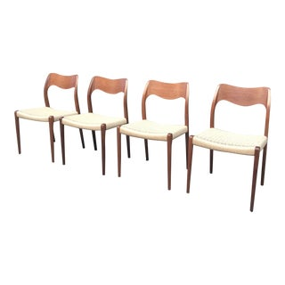 1950s Vintage Jl Moller Mod. 71 Danish Teak Dining Chairs- Set of 4 For Sale