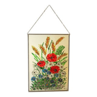 Vintage Handmade Metal Framed Glass Window Picture For Sale
