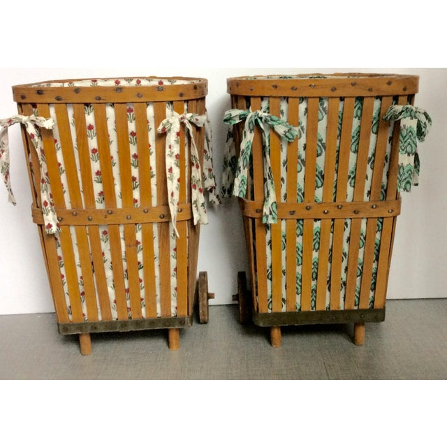 Antique 1920s Wood Baskets on Wheels - Image 2 of 9