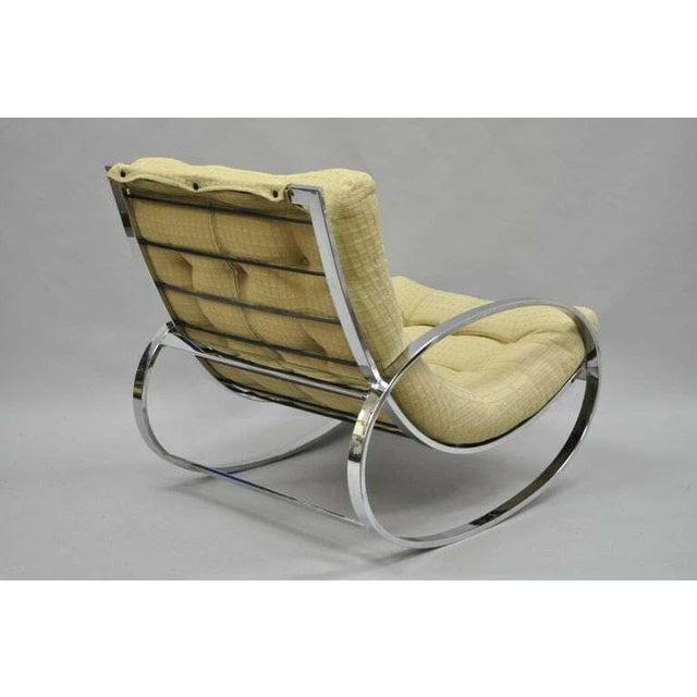 Mid-Century Modern Mid Century Modern Renato Zevi Selig Ellipse Milo Baughman Chrome Rocking Chair For Sale - Image 3 of 10