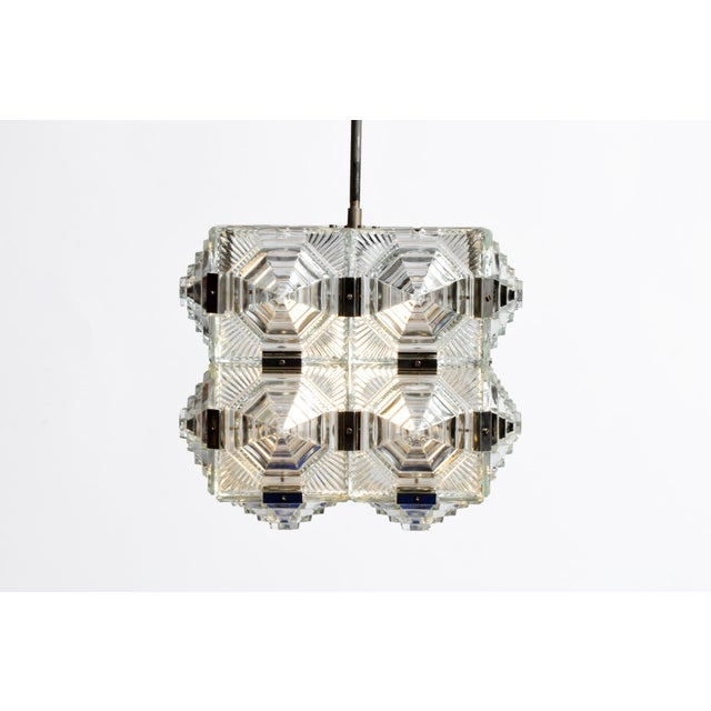 Mid 20th Century Czech Cast Glass Ceiling Lamp For Sale - Image 5 of 13