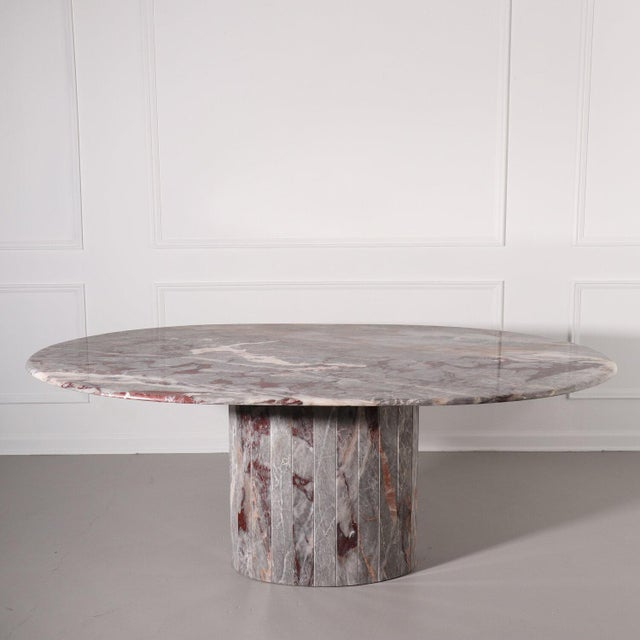 Gray Oval Salome Marble Pedestal Dining Table, Italy, 1970s For Sale - Image 8 of 13
