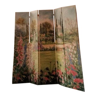 Impressionist-Style Large Oil Painting /5 Panel Screen For Sale