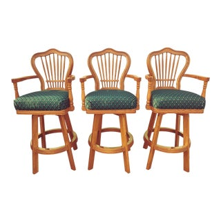 1990s Custom Mikhail D Darafeev Game Room Wood Chairs- Set of 3 For Sale