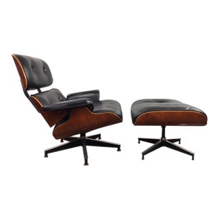 Early Charles & Ray Eames Black Leather Walnut Lounge Chair and Ottoman