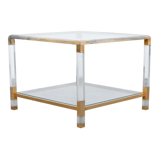 1970s French Glass and Resin Coffee Table For Sale