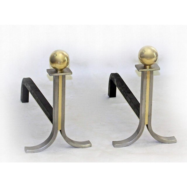 1950s 1950s French Brushed Steel and Brass Fireplace Andiron Set - 5 Pieces For Sale - Image 5 of 11