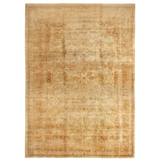 Antique Tabriz Beige and Cream Wool Persian Rug with Light Distress For Sale