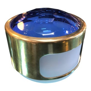 1960s Italian Round Brass Decorative Box With Blue Glass For Sale