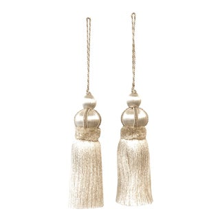 """Pair of Ivory Key Tassels With Cut Ruche - Tassel Height 5.75"""" For Sale"""