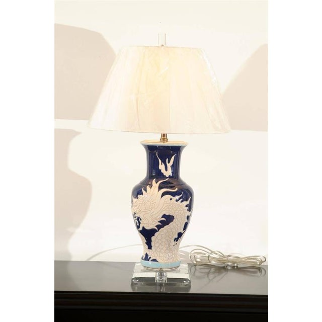 Restored Pair of Dramatic Vintage Dragon Lamps in Cobalt and Cream For Sale - Image 9 of 11
