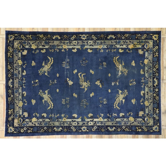 Navy Blue Antique Chinese Peking Art Deco Rug With Chinoiserie Style - 09'01 X 13'07 For Sale - Image 8 of 10