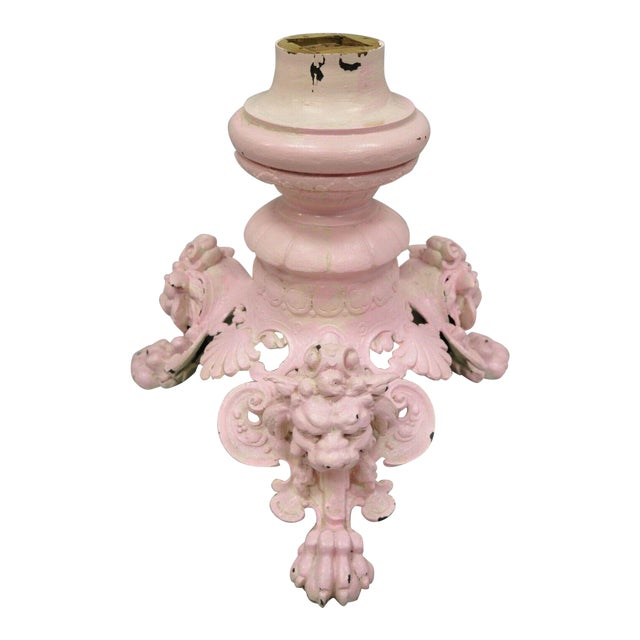 Antique French Empire Style Cast Iron Pedestal Side Table Base With Lions For Sale