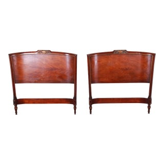 Carved Mahogany Twin Headboards by Irwin, Circa 1940s For Sale