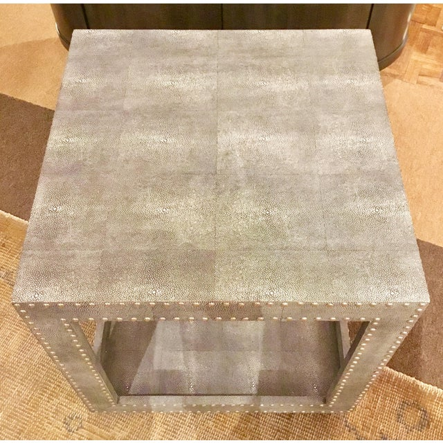 Regina Andrews Feaux Python Studded Accent Cube Table For Sale - Image 4 of 9